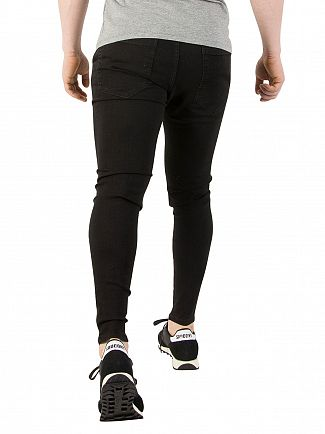 Sik Silk Jet Black Skinny Distressed Denim Jeans