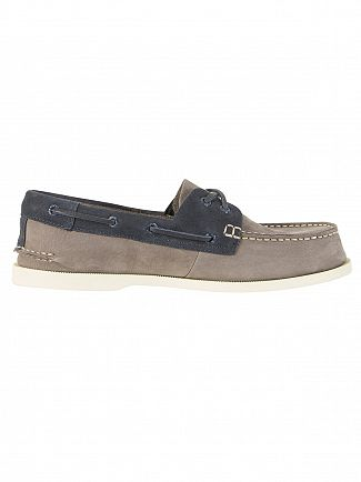 Sperry Top-Sider Grey / Navy A/0 2-Eye Boat Shoes
