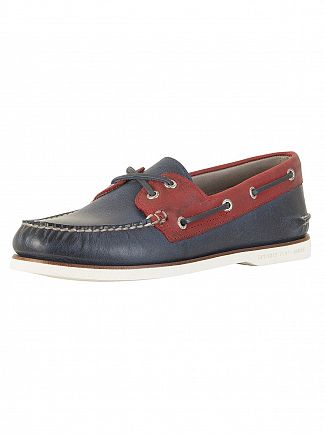 Sperry Top-Sider Navy / Red Gold A/O 2-Eye Boat Shoes
