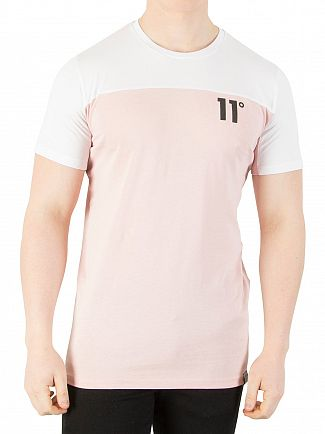 11 Degrees White/Dusty Pink Block T-Shirt