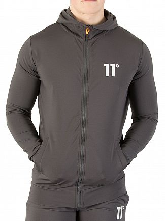 11 Degrees Smoke Plain Poly Zip Hoodie