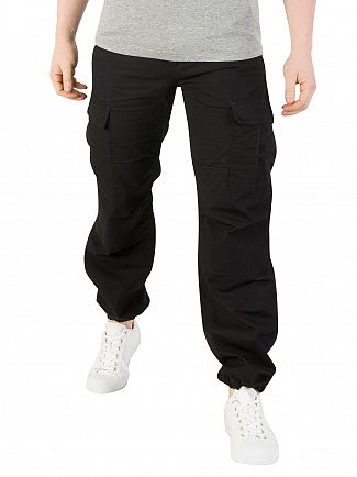 Carhartt WIP Black Rinsed Aviation Slim Fit Cargos