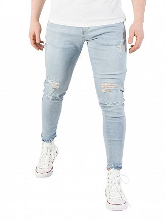 Sik Silk Light Stone Wash Jagged Hem Jeans