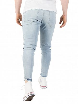Sik Silk Light Stone Wash Jagged Hem Jeans
