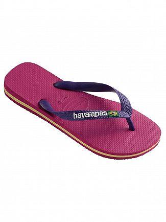 Havaianas Raspberry Rose Brasil Logo Flip Flops