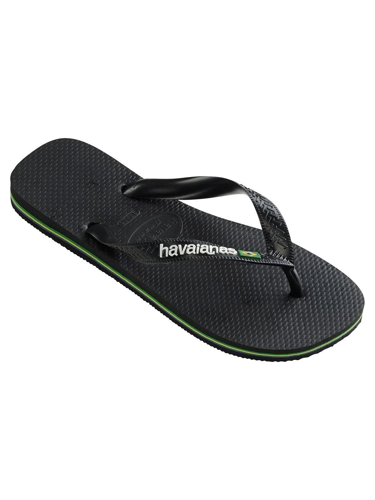 bca6114976827 Havaianas Black Black Brasil Logo Flip Flops
