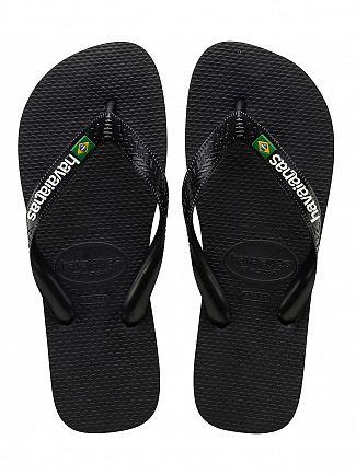 Havaianas Black/Black Brasil Logo Flip Flops