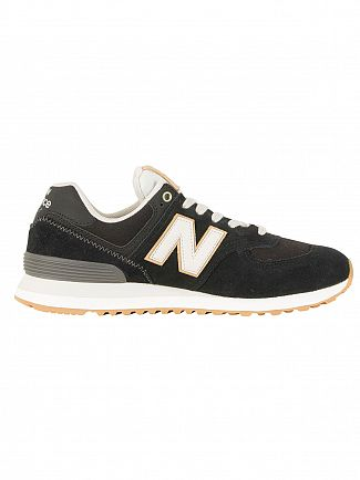 New Balance Black/White/Beige 574 Trainers