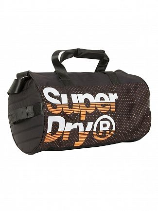 Superdry Black/Hazard Orange Nue Wave Lineman Barrel Bag