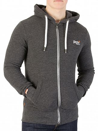 Superdry Dark Cavern Grey Grindle Orange Label Zip Hoodie