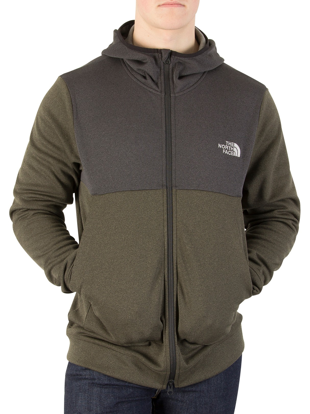 Men's The North Face New Taupe Green Tech Zip Hoodie