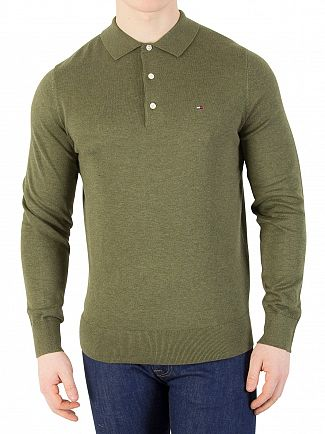 Tommy Hilfiger Four Leaf Clover Heather Cotton Silk Longsleeved Polo Shirt