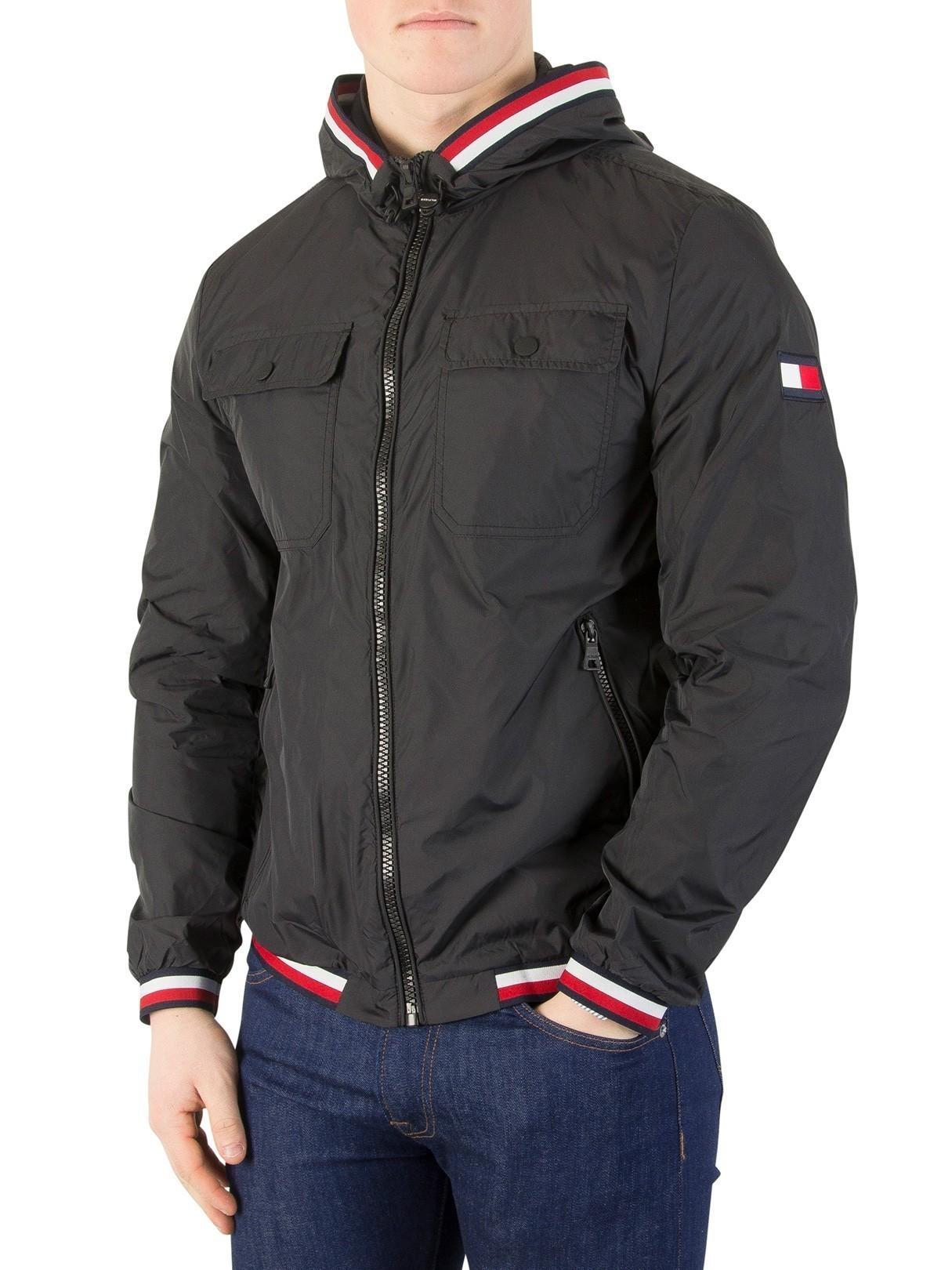 Leather Jackets & Coats|Men's Tommy Hilfiger Jet Black Nylon Tape Jacket
