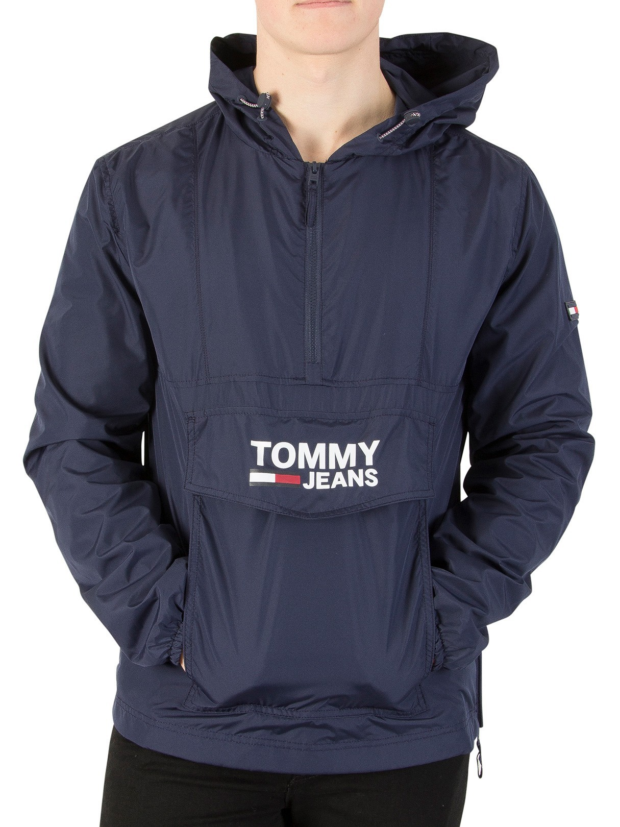 Leather Jackets & Coats|Men's Tommy Jeans Black Iris Pullover Anorak Jacket