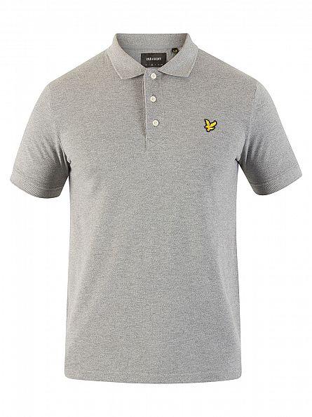 Lyle & Scott Mid Grey Marl Logo Polo Shirt