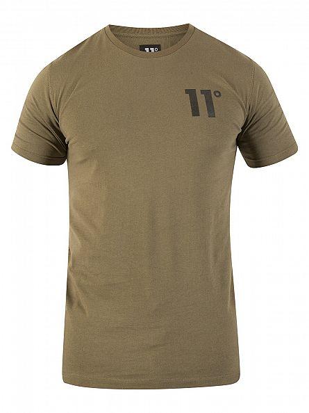 11 Degrees Khaki Core Logo T-Shirt