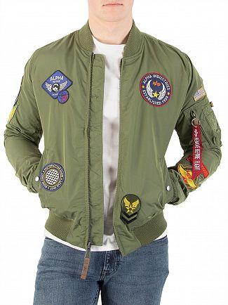 Alpha Industries Sage Green MA-1 TT Patch Jacket