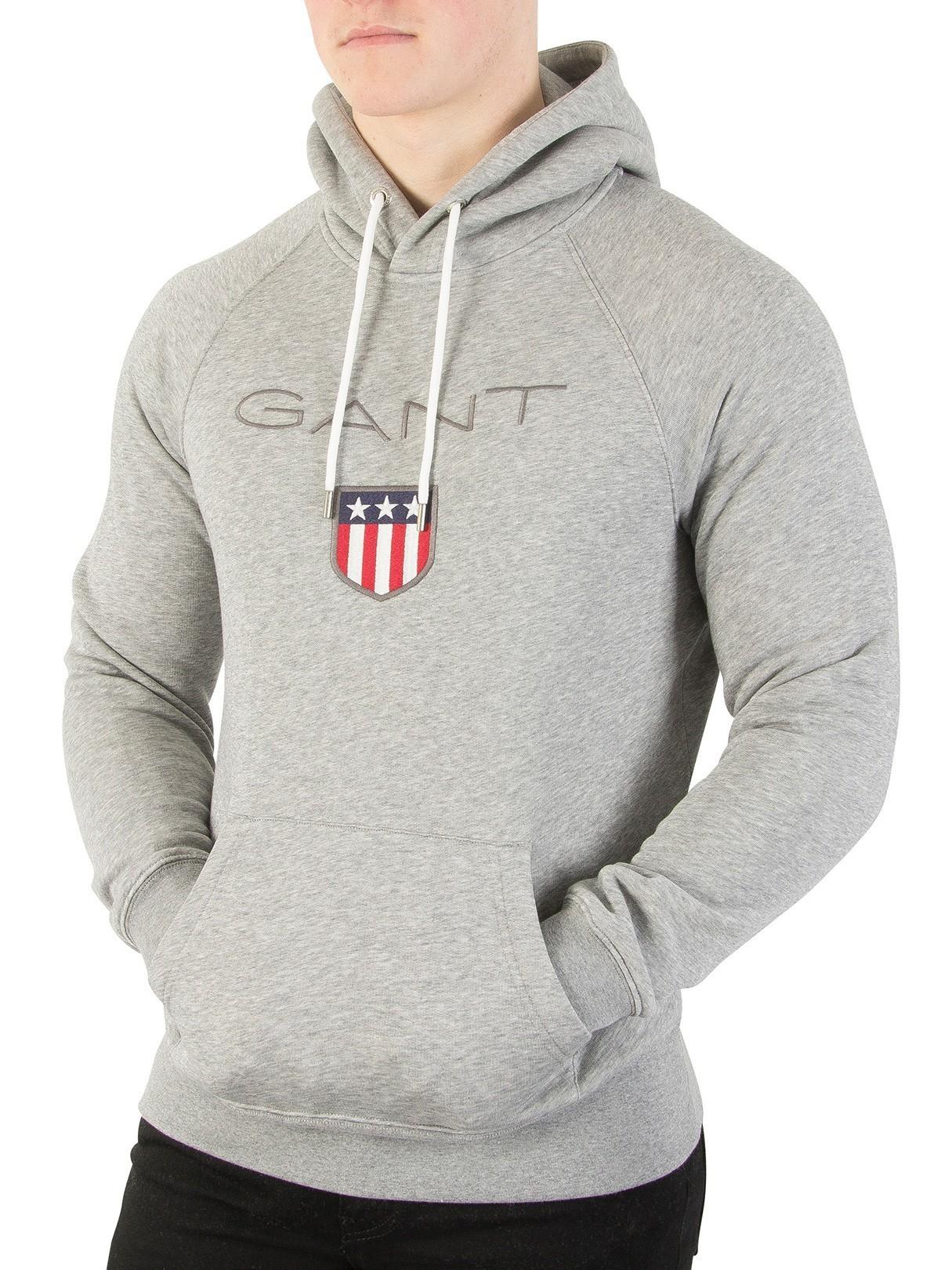 55bd3ddf Gant Grey Melange Shield Pullover Hoodie | Standout