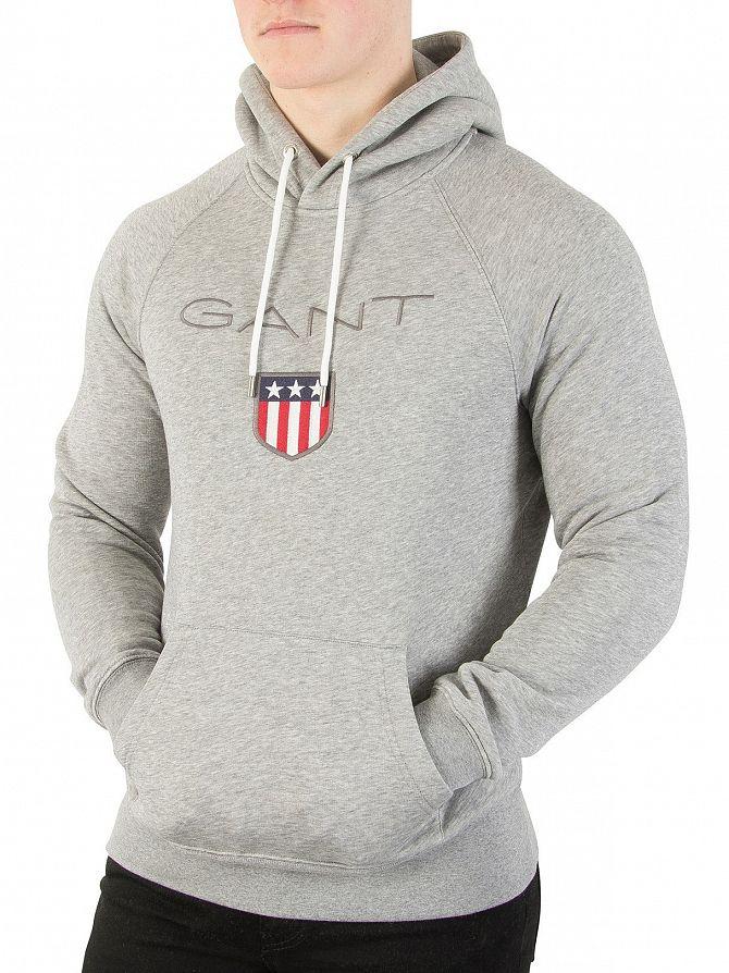 Gant Grey Melange Shield Pullover Hoodie