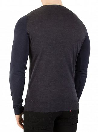 John Smedley Hepburn Smoke Hindlow Colour Block Knit