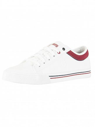 K-Swiss White/Burgundy/Dress Blue Bridgeport 2 Trainers