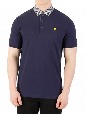 Lyle & Scott Navy Check Woven Polo Shirt