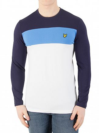 Lyle & Scott White Casuals Longsleeved Slim Block Stripe T-Shirt