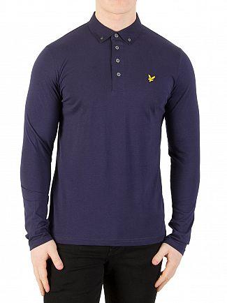 Lyle & Scott Navy Longsleeved Woven Collar Polo Shirt