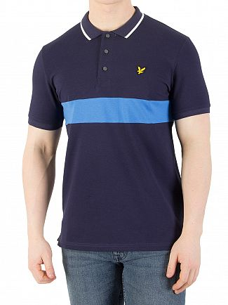 Lyle & Scott Navy Casuals Slim Fit Striped Pique Polo Shirt