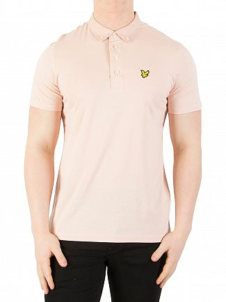 Lyle & Scott Dusty Pink Woven Collar Polo Shirt