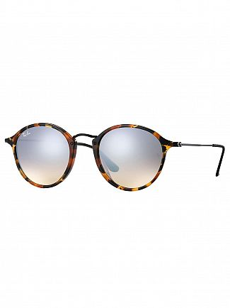 Ray-Ban Dark Brown Acetate Round Fleck Sunglasses
