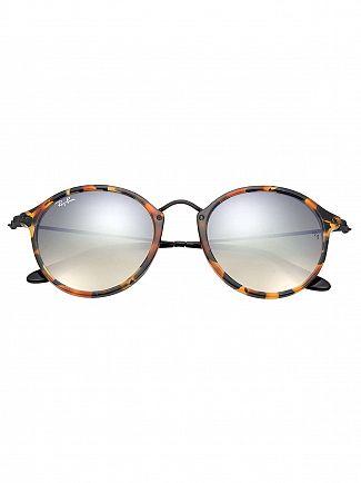 Ray-Ban Dark Brown Acetate Round Fleck Sunglasses