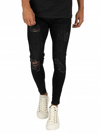 Sik Silk Washed Black Skinny Distressed Denim Jeans