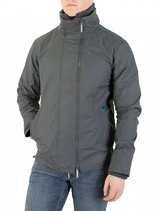 Superdry Game Grey/Teal Technical Pop Zip Windcheater