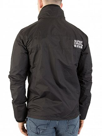 Superdry Black/Optic White Technical Pop Zip Windcheater
