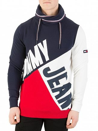 Tommy Jeans Racing Red/Multi Colour Block Sweatshirt