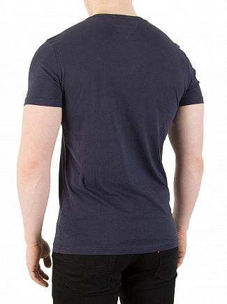 Tommy Jeans Black Navy Iris Slim Fit Graphic T-Shirt