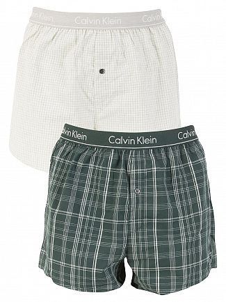 Calvin Klein Plaid Ink Green/Check Heather 2 Pack Slim Fit Woven Boxers