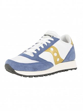 Saucony White/Blue/Gold Jazz Original Vintage Trainers