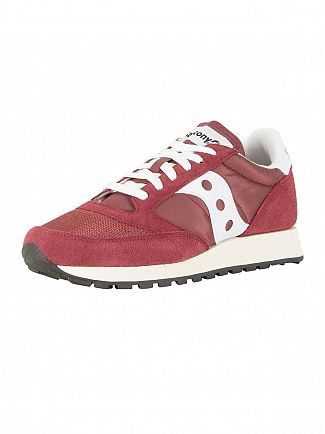 Saucony Burgundy/White Jazz Original Vintage Trainers