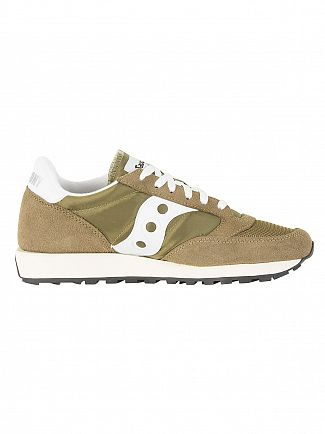 Saucony Olive/White Jazz Original Vintage Trainers