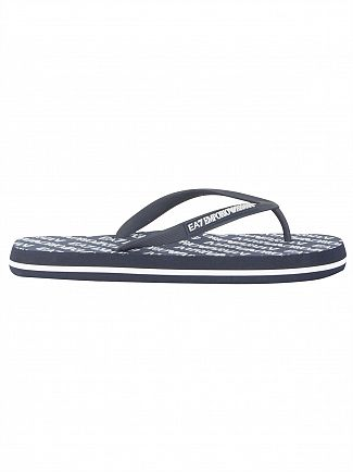 EA7 Navy Blue Sea World All Over Flip Flops