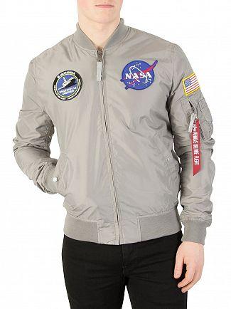 Alpha Industries Silver MA-1 TT NASA Reversible Bomber Jacket