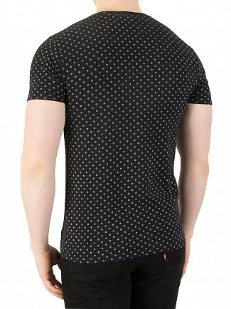 Scotch & Soda Black Classic Patten T-Shirt
