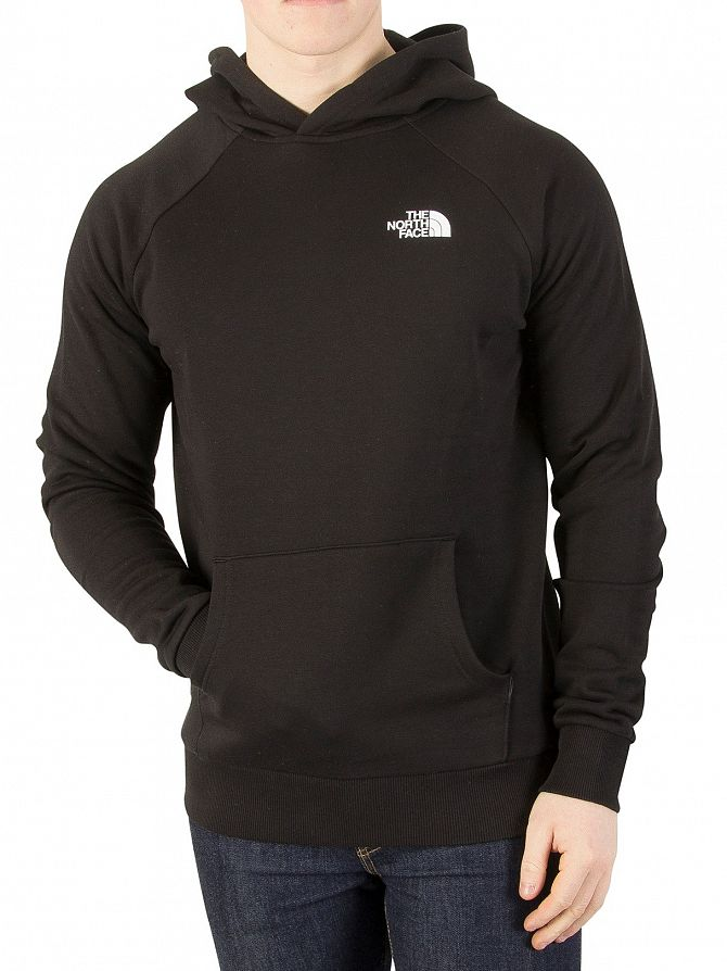 The North Face Black Raglan Red Box Pullover Hoodie