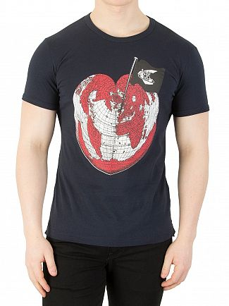 Vivienne Westwood Navy Heart World Print T-Shirt