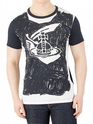 Vivienne Westwood Navy Scribble Arm & Cutlass Print T-Shirt