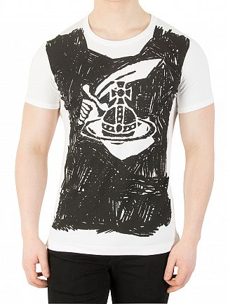 Vivienne Westwood White Scribble Arm & Cutlass Print T-Shirt