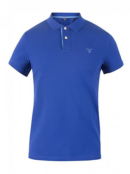 Gant Yale Blue Contrast Collar Pique Rugger Logo Polo Shirt