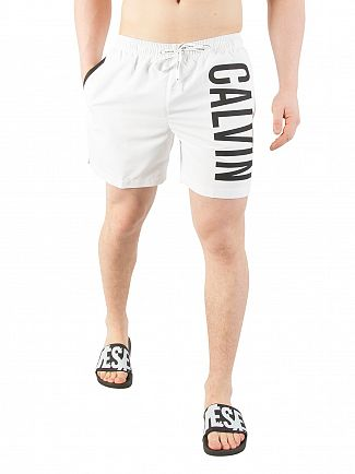 Calvin Klein White Medium Drawstring Swimshorts